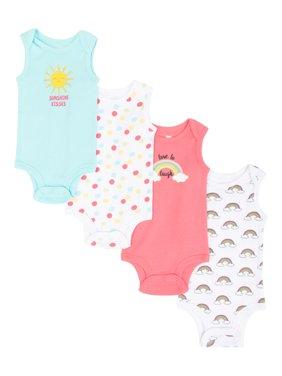Koala Baby Girl Bodysuits, 4pk