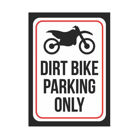 Parking Metal (Dirt Bike Parking Only Print Black And White Black Metal Bike Symbol Small Signs, 7.5x10.5 Inch)