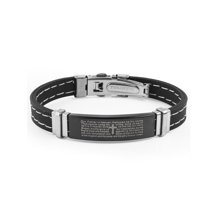 Stainless Steel Lord's Prayer ID Rubber Bracelet (11.5mm) - 8.5
