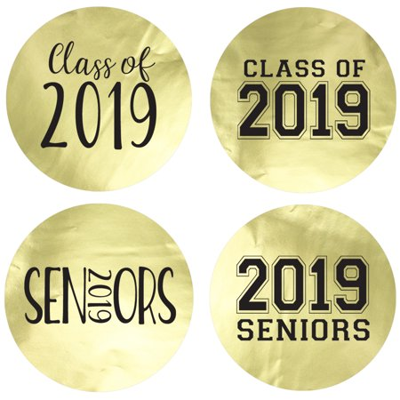 Gold Foil Class of 2019 Party Labels, 60ct - Senior Class Graduation Party Favor Supplies - 60 Count Stickers (1 3/4 - Halloween Party Ideas For Seniors