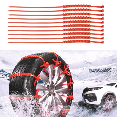 Tuscom 10 Pcs Snow Tire Chain Car Anti-Skid Emergency Winter Driving Spikes Car (Best Tires For Winter Driving)