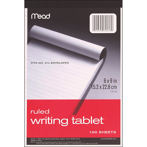 "Writing Tablet 6"" x 9"" 100 Sheets/Pad, Ruled White"