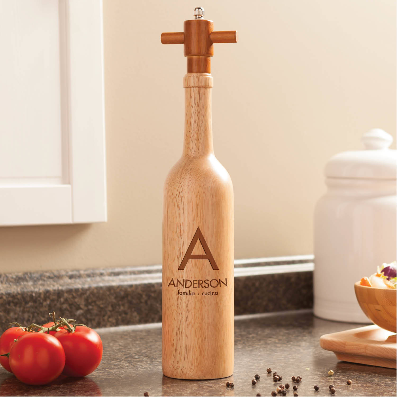 Modern Name Personalized Pepper Mill