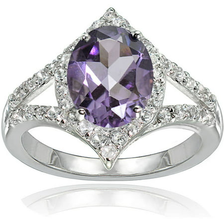 Sterling Silver Shank (Amethyst and White Topaz Sterling Silver Oval Fashion Split Shank Ring)