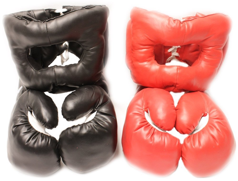 New 16oz Sets 2 Headgear 2 Pair Boxing Punching Gloves by
