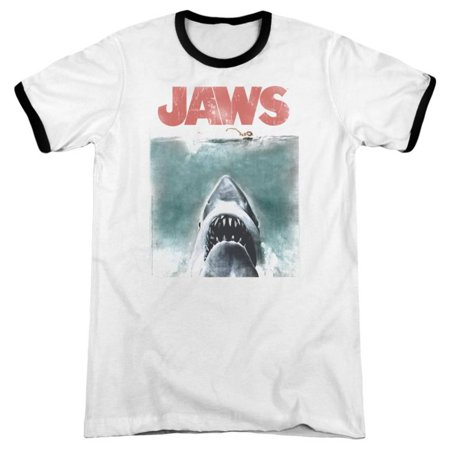 Jaws - Vintage Poster Ringer Apparel T-Shirt - Two-Tone