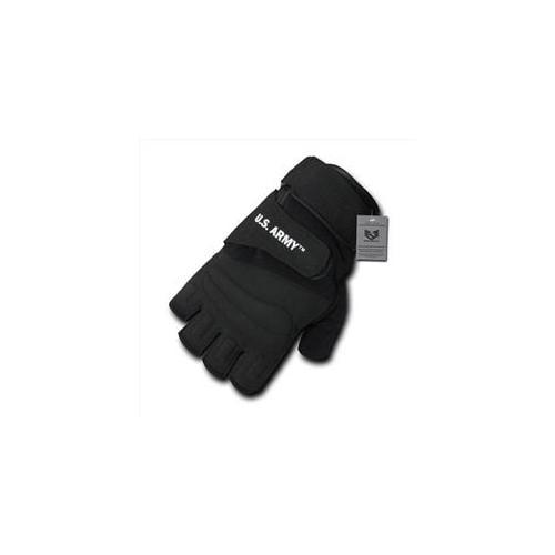 RapDom U03-ARM-BLK-02 Half Finger Gloves, Army - Black, Medium