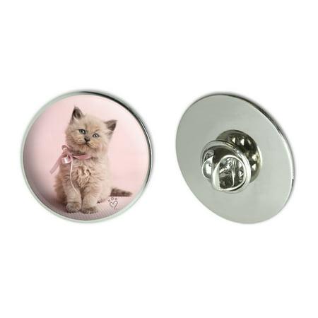 """Miradoll Ragdoll Cat Kitten Pink Ribbon Bow Metal 1.1"""" Tie Tack Hat Lapel Pin Pinback"""