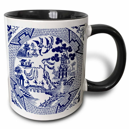 3dRose Willow Pattern Detail in Blue and White - Two Tone Black Mug, 11-ounce
