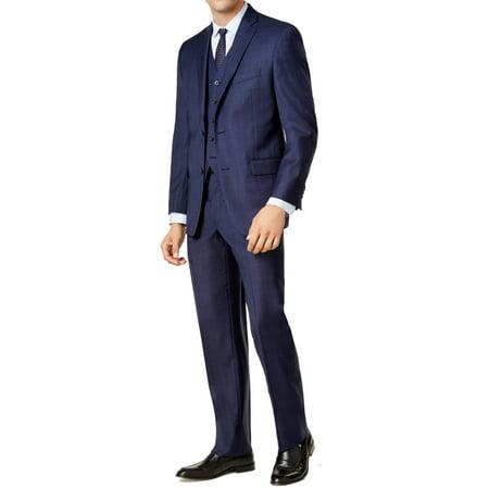 Michael Kors Men Short Plaid Two Button Wool Suit (Wool Men Suit)