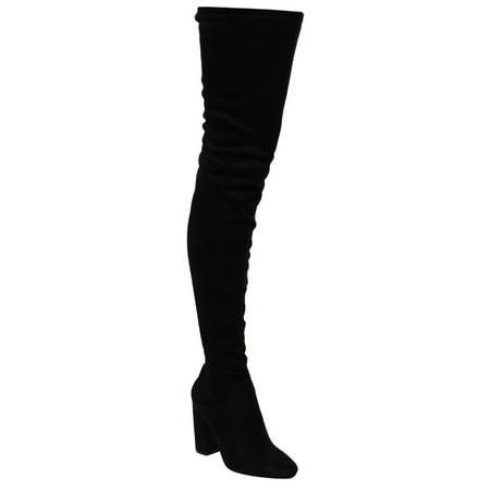 CAPE ROBBIN DD17 Women's Side Zip Block Heel Stretchy Snug Fit Thigh High - Thigh High Pirate Boots