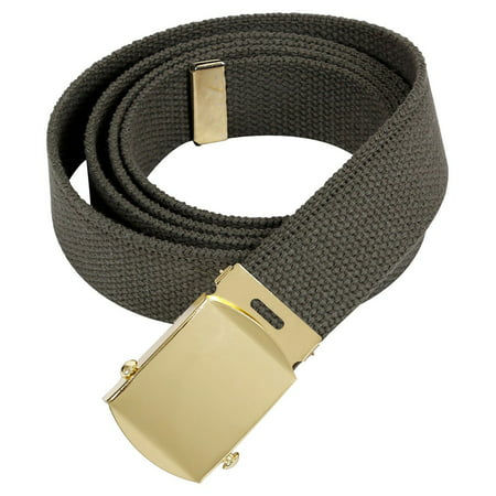 Rothco 64 Inch Military Color Web Belts - Olive Drab, Gold Buckle Military Color Web Belts