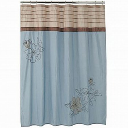 Croft Barrow Amelia Fabric Shower Curtain Blue Brown Embroidered Flower