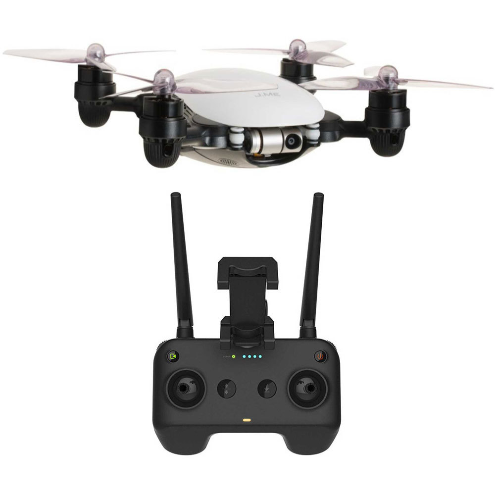 JME Drone with 4K Camera 2 Axis Gimbal (White) and Remote Controller by j-me
