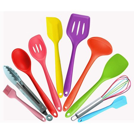 Silicone Kitchen Utensils Colorful 10 Pieces, Nonstick ...