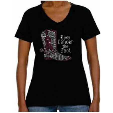 - Rhinestone Rhinestone Womens T Shirt Breast Cancer Boot JRW-093 - XL / Women Short-Sleeve V-Neck-T-Shirt