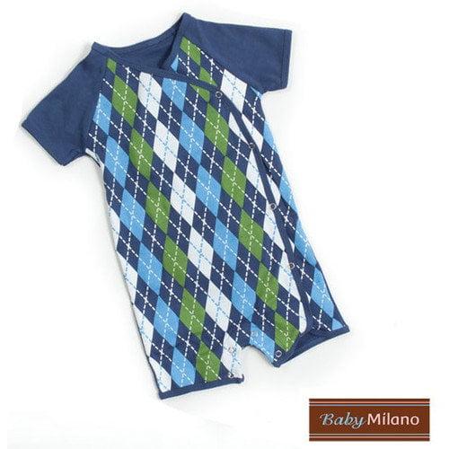 Baby Milano Kimono Baby Bodysuit in Blue Argyle