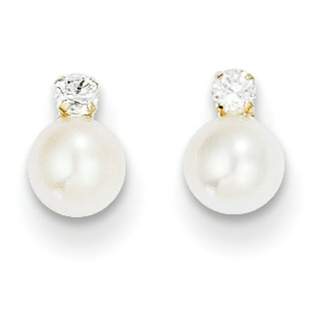 14k Yellow Gold CZ & 5mm Freshwater Cultured Pearl Post