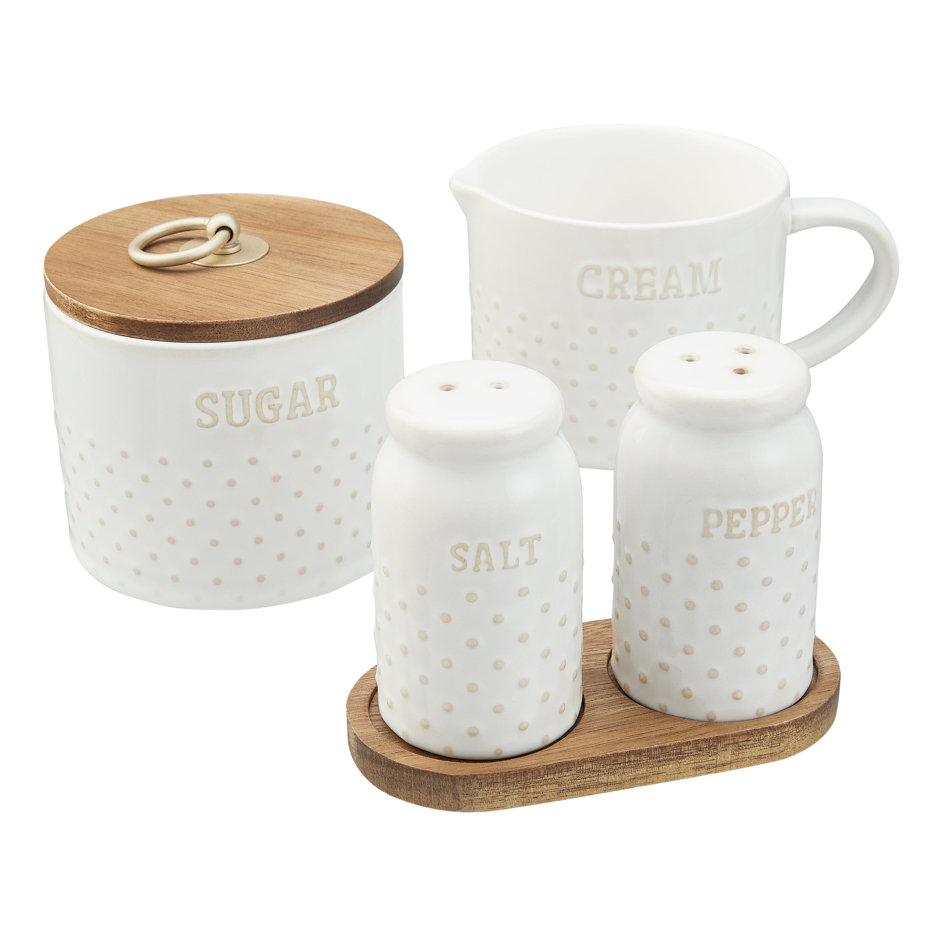Better Homes Gardens Farmhouse 4 Piece Dotted Sugar Cannister Creamer And Salt And Pepper Shaker Set In White Walmart Com Walmart Com