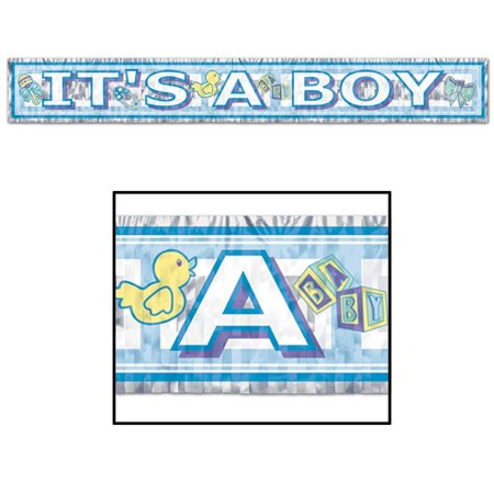 """Club Pack of 12 Metallic Blue It's A Boy"""" Baby Shower Fringe Banner Hanging Decorations 5'"""