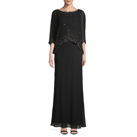 Embellished Cape Gown Modest Cape Dress