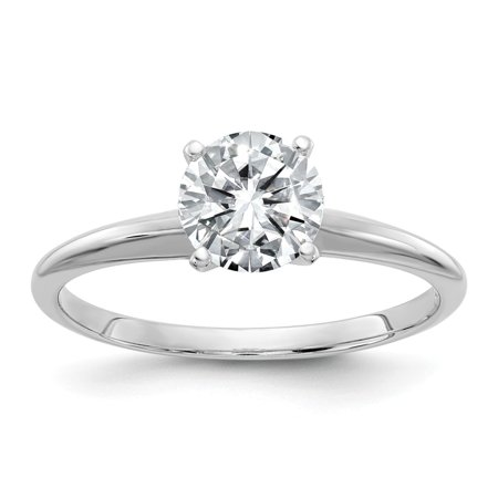 14k White Gold Round IGI Certified Diamond Solitaire Engagement Ring (D/SI2- 1Cttw)