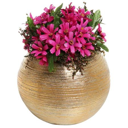 6.75-Inch Round Metallic Gold-Tone Ridged Ceramic Plant Flower Planter Pot