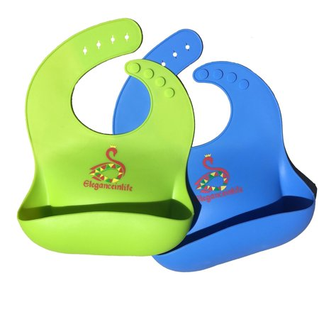 Baby Bibs Waterproof Silicone Soft THE BEST Baby Bibs,Easily Wipes Clean,Comfort set of 2 green