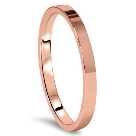 Gemini Flat Court Comfort Fit Rose Gold Couple Titanium Wedding Ring width 4mm US Size 5 Valentine's Day (Rose Titanium)