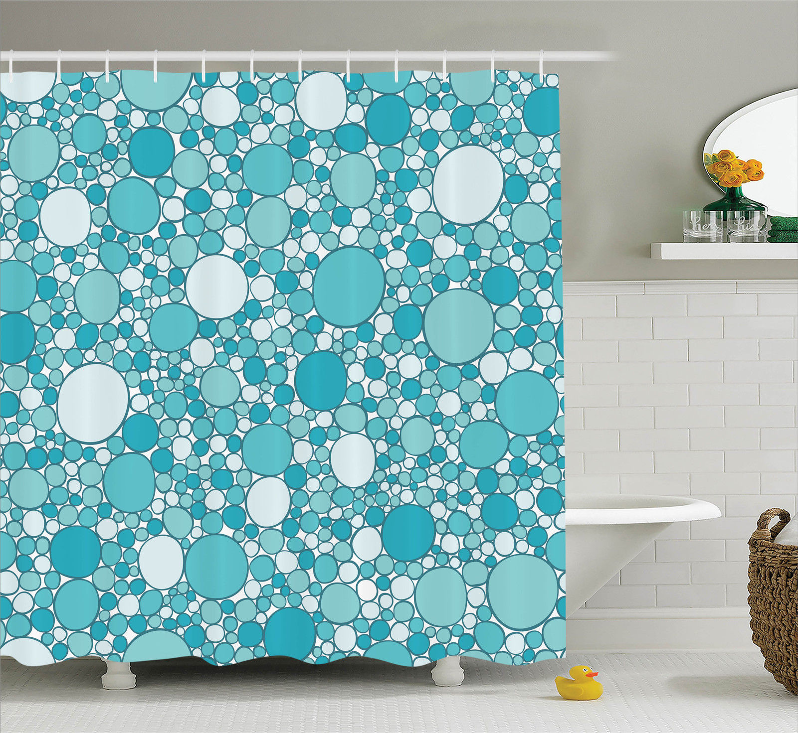 House Decor  Abstract Pattern With Bubbles In Different Sizes Modern Stylish Trendy, Bathroom Accessories, 69W X 84L Inches Extra Long, By Ambesonne