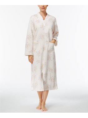 Miss Elaine Quilted Floral Pattern Robes (Beige, L)