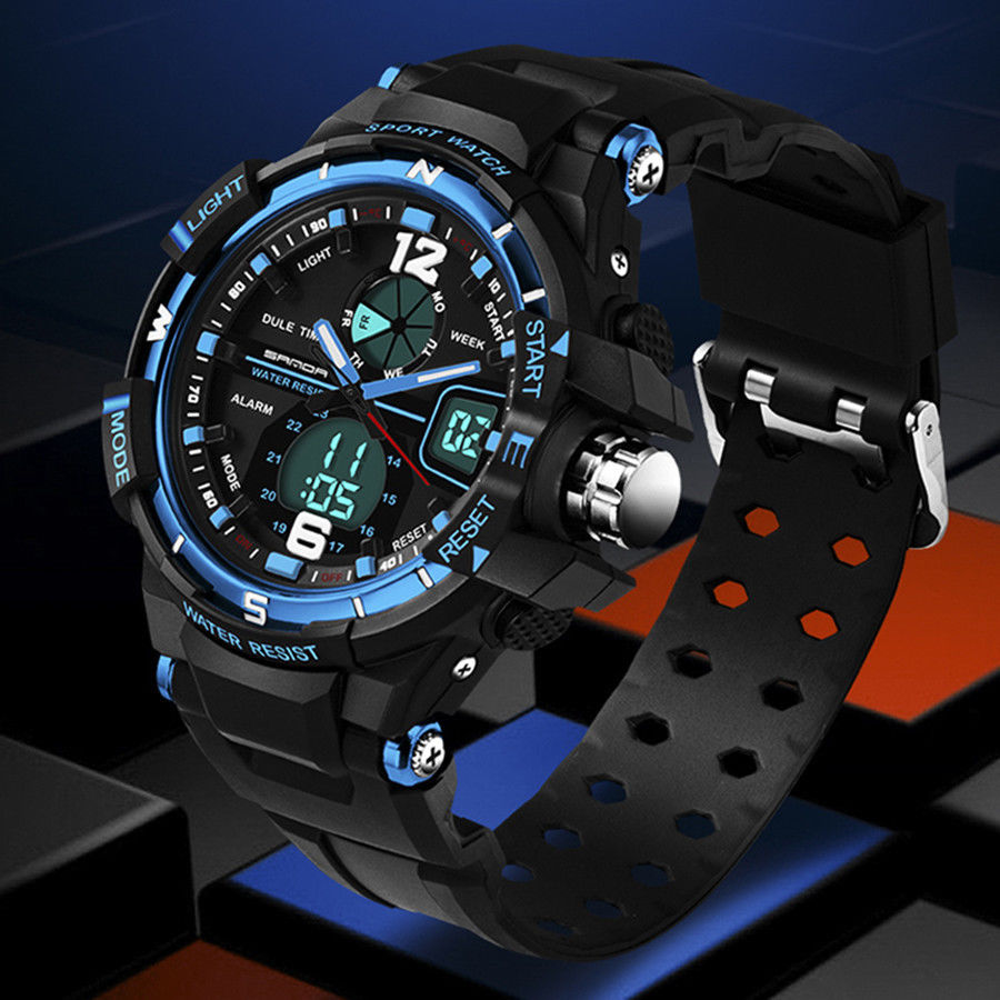 Fashion Men Digital Sports Military Date Analog Quartz Wrist Watch WATERPROOF-Black&Blue