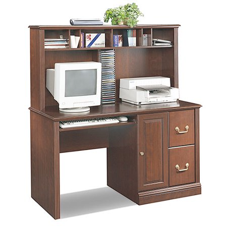 Sauder Roanoke Computer Desk With Hutch And File Storage Classic Cherry