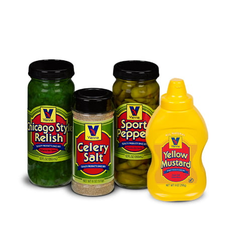Green Glass Relish - Vienna® Chicago-Style Condiment Kit (1 Jar Yellow Mustard, 1 Jar Green Relish, 1 Jar Sport Peppers, 1 Jar Celery Salt)