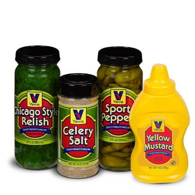 Vienna® Chicago-Style Condiment Kit (1 Jar Yellow Mustard, 1 Jar Green Relish, 1 Jar Sport Peppers, 1 Jar Celery Salt)
