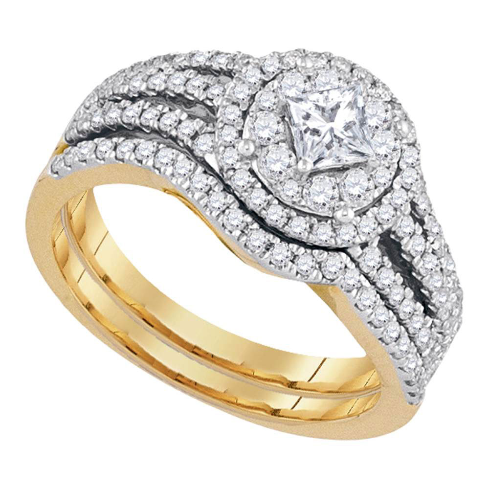 14kt Yellow Gold Womens Princess Diamond Solitaire Bridal Wedding Engagement Ring Band Set 1.00 Cttw by