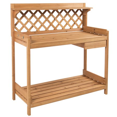 Cedar Garden Potting Table - Best Choice Products Fir Wood Potting Bench with Hooks - Natural Finish
