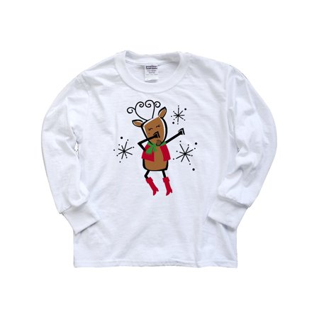 Dabbing Vixen Reindeer Youth Long Sleeve T-Shirt - Teen Vixen