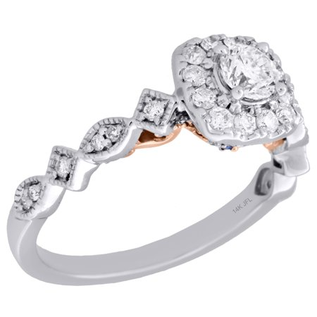 14K Two Tone Gold Round Solitaire Diamond Square Halo Engagement Ring 0.75 Ct. Gold Tone Solitaire