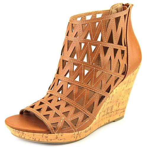 Wild Pair Felton Women US 7 Tan Peep Toe Wedge Heel