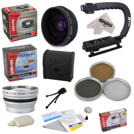 "All Sport Kit for JVC GZ-HD500 GZ-HD620 GZ-HM300 GZ-HM320 GZ-HM340 GZ-HM550 Camcorder with 0.2X Low-Profile ""Ninja"" Fisheye Lens, 2.2x Lens, 3 Piece Filter Kit, X-GRIP, Microfiber Cloth"