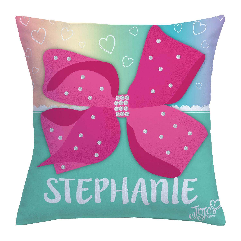 Personalized Pink Bow Throw Pillow - JoJo Siwa