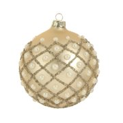 "4"" Glamour Time Matte Champagne Gold and Ivory Pearl Glass Ball Christmas Ornament"