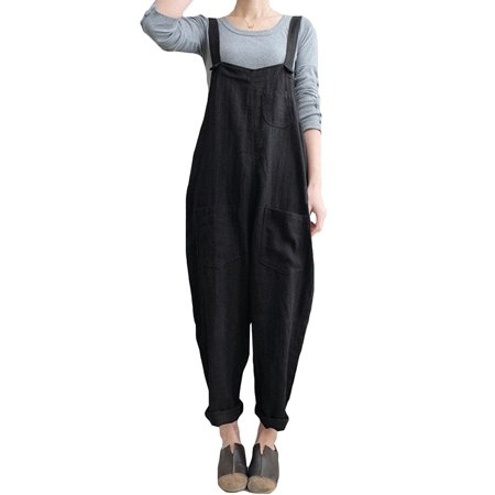 Womens Linen Jumpsuits Overalls With Pockets Vintage Harem Pants (Adult Overalls)
