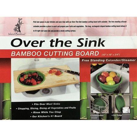 Over-the-Sink 18-inch Bamboo Cutting Board with Colander, Fits Over Most Sinks with Removable and Collapsible Strainer/Steamer - Made with Earth Friendly Anti-Microbial Bamboo - by Island Bamboo (Cutting Board With Strainer)