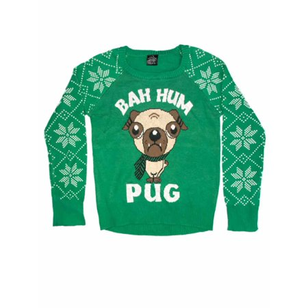 Girls Green Puppy Dog Snowflake Ugly Christmas Sweater Bah Hum Pug Holiday Knit (Snowflake Knitted Sweater)