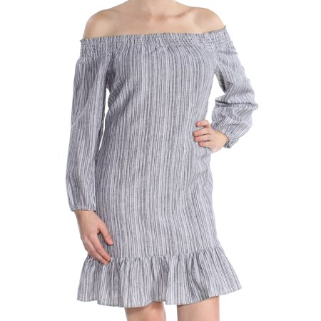 VINCE CAMUTO Womens Gray Striped Long Sleeve Off Shoulder Above The Knee Fit + Flare Dress  Size: M Cotton Ladies Dress Outfit