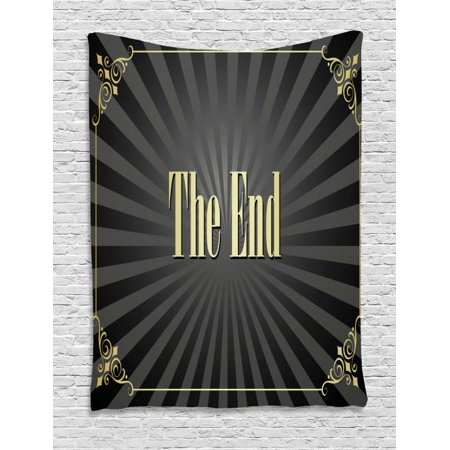 Old Hollywood Tapestry, Movie Ending Screen with Vintage Video Frame The End Text, Wall Hanging for Bedroom Living Room Dorm Decor, 40W X 60L Inches, Charcoal Grey Black and Cream, by Ambesonne - Old Hollywood Themed Room