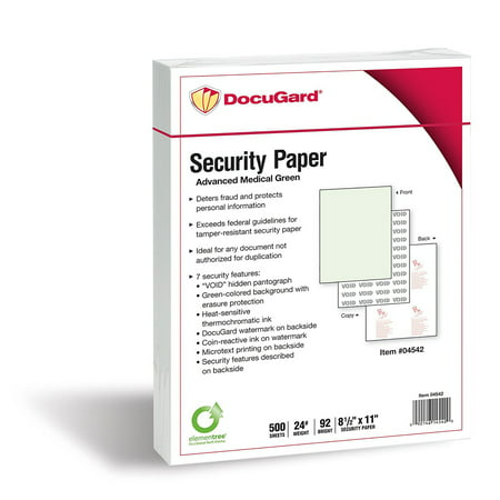 Docugard Advanced Green Medical Security Paper  7 Features  8 5 X 11 Inches  24 Lb  500 Sheets  04542