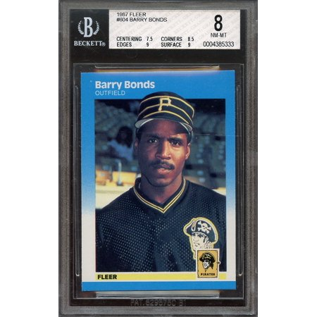 1987 Fleer Barry Bonds (1987 fleer #604 BARRY BONDS pittsburgh pirates rookie card BGS 8 (7.5 8.5 9 9))